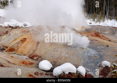 Minor eruption of Steamboat Geyser spewing scalding hot water from fumarole in Norris Geyser Basin  in winter Yellowstone - Stock Photo