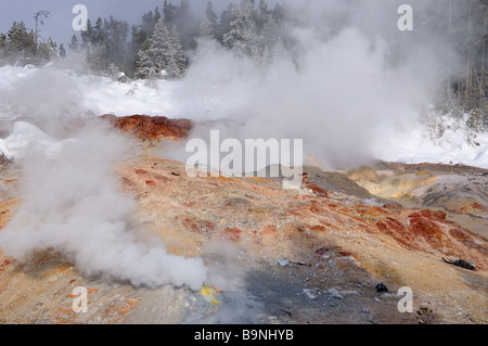 Hot steam in winter from Steamboat Geyser and fumarole in Norris Geyser Basin Yellowstone Park - Stock Photo