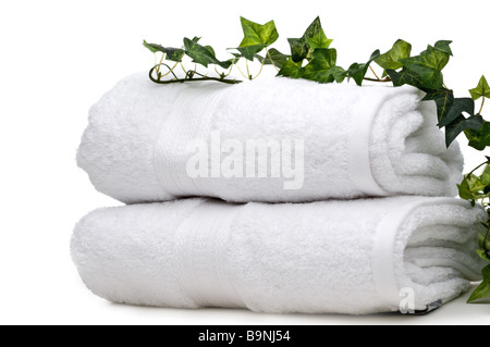green vine on white towels - Stock Photo