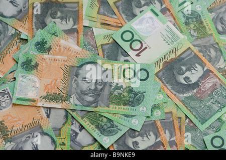 Australian one hundred dollar notes - Stock Photo