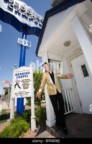 An Elvis Impersonator At The Graceland Wedding Chapel In Las Vegas Nevada