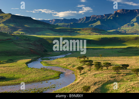 the Tugela Valley with the Drakensberg Mountains beyond, KwaZulu Natal, South Africa - Stock Photo