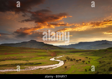 dusk sky over the Tugela Valley with the Drakensberg Mountains beyond, KwaZulu Natal, South Africa - Stock Photo