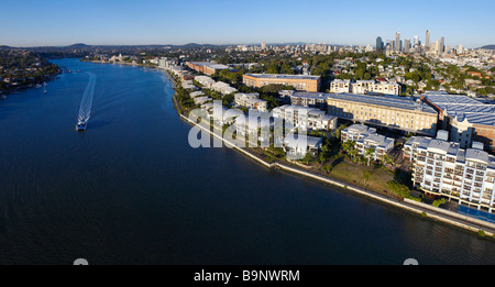 New Farm Brisbane Australia aerial panoramic view - Stock Photo