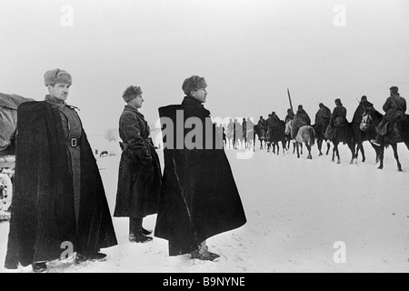 Commander of the 1st guards cavalry corps Major General P Belov assessing the skills of his soldiers The Western - Stock Photo