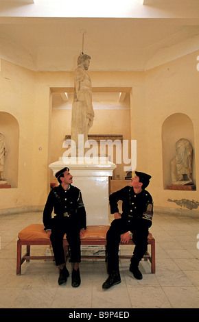 Egypt, Alexandria, Greco Roman Museum, two policemen sitting on a bench - Stock Photo