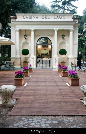 Caffe Casino del Lago behind the Museum of Carlo Bilotti in the Villa Broghese gardens Rome - Stock Photo