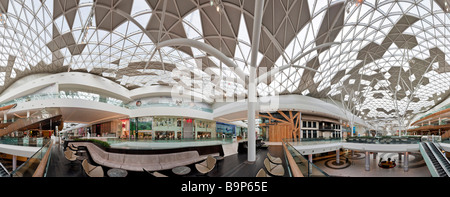360 Degree panorama of the interior of the Westfield Shopping Centre in Shepherds Bush West London - Stock Photo