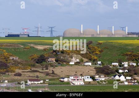 France, Seine Maritime, Veulettes sur Mer and Paluel nuclear plant - Stock Photo