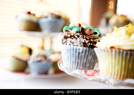 Fairy Cakes on Cake Stands - Stock Photo