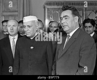 India s Prime Minister Jawaharlal Nehru center and Chairman of the USSR Supreme Soviet Leonid Brezhnev right - Stock Photo