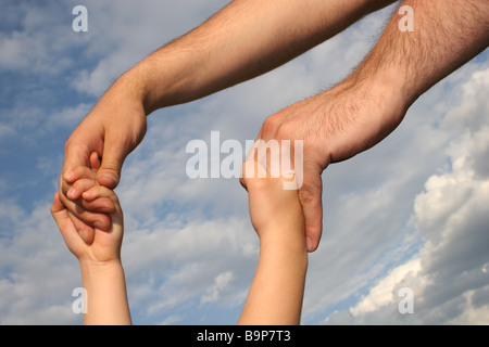 father's and son's hands pair - Stock Photo
