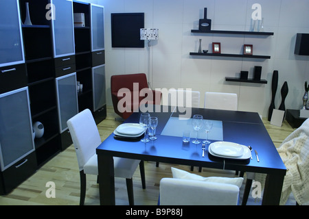 modern room with dining table - Stock Photo