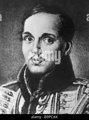 Portrait of the Russian poet Mikhail Lermontov 1814 1841 by Pyotr Zabolotsky 1837 Reproduction Collection of the - Stock Photo