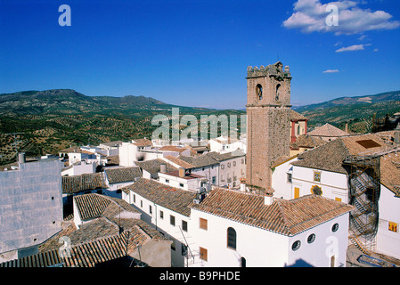 Spain, Andalusia, Priego-de-Cordoba, overview on the city and olive trees plantations from the arabic fortress - Stock Photo