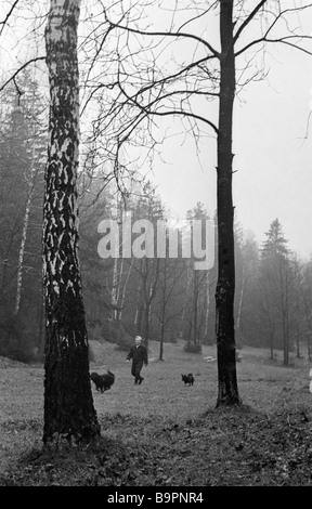 Puppet Theater director Sergei Obraztsov People s Artist of the USSR walking in the forest outside Moscow - Stock Photo