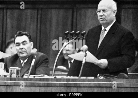 First secretary of the CPSU Central Committee Chairman of the USSR Council of Ministers Nikita Khrushchev right - Stock Photo