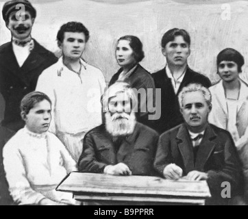 Academician Vladimir Bekhterev center with founders of the Society of Scientific Organization of the Working People - Stock Photo