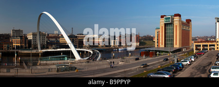 Millennium Bridge and Baltic Arts Centre Gateshead Tyne and Wear - Stock Photo