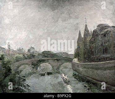 Robert Falk 1886 1958 A Bridge near an Old Prison Paris Painting 1937 - Stock Photo