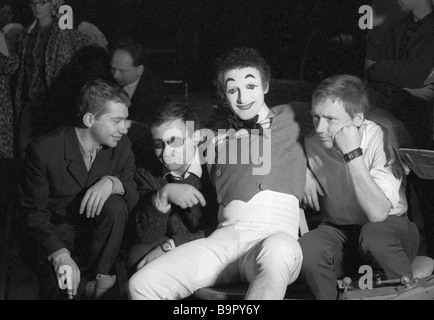 Left to right Alexei Yuzovsky Two Hours Early film review director Arkadi Koltsaty camera Marcel Marceau renowned - Stock Photo