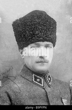 Portrait of Mustafa Kemal Ataturk 1881 1938 the founder and first president of the Turkish Republic with his own - Stock Photo