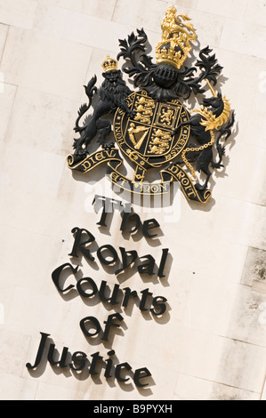 Royal Courts of Justice coat of arms and crest the Strand London - Stock Photo