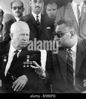 First secretary of the CPSU Central Committee Nikita Khrushchev left talks to the Egyptian President Gamal Abdel - Stock Photo