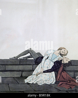 The death of Romeo and Juliet by Dementy Shmarinov 1907 1999 Illustration to Shakespeare s tragedy Romeo and Juliet - Stock Photo