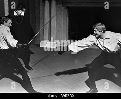 Innokenty Smoktunovsky as Hamlet left and Stepan Oleksenko as Laertes right in film Hamlet by Grigory Kozintsev - Stock Photo
