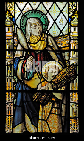 Sarah and Isaac, South nave window (detail). Church of Saint Mary, Dalton-in-Furness, Cumbria, England, United Kingdom, - Stock Photo