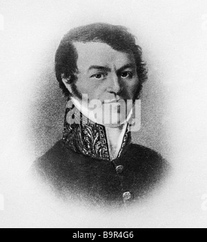 A reproduction of a portrait of Mikhail Dostoyevsky the father of writer Fyodor M Dostoyevsky from the collection - Stock Photo
