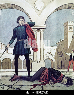 The death of Tybalt by Dementy Shmarinov 1907 1999 Illustration to Shakespeare s tragedy Romeo and Juliet - Stock Photo