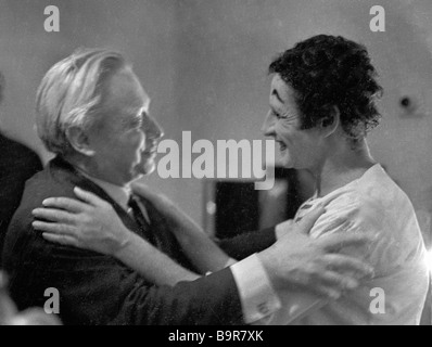Actor and theater director Sergei Obraztsov left and French actor mime Marcel Marceau right - Stock Photo