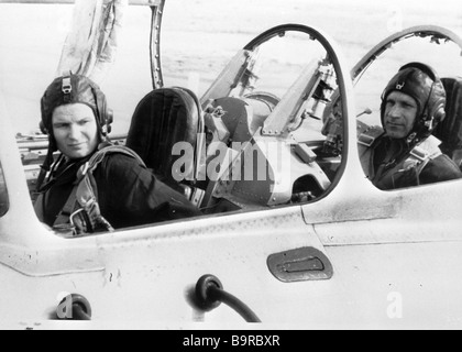 Pilot cosmonaut Valentina Tereshkova Hero of the Soviet Union and Colonel Vladimir Seregin Hero of the Soviet Union - Stock Photo