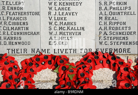 poppy wreaths at the base of a war memorial at newquay in cornwall,uk - Stock Photo