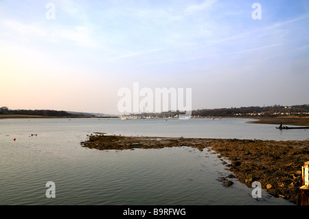 River Medina looking towards Cowes on the Isle of Wight United Kingdom - Stock Photo