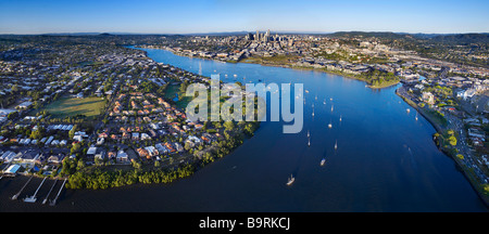 New Farm & Bulimba Brisbane Australia aerial panoramic view - Stock Photo