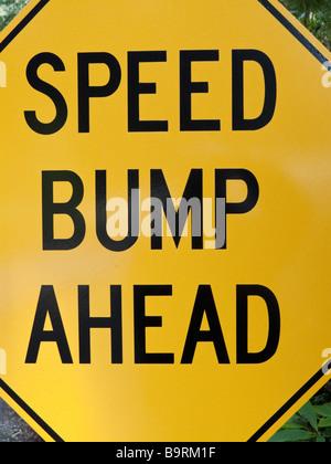 Speed Bump Ahead road sign - Stock Photo