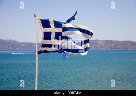 Greek flag in Kissamos (Crete, Greece) - Stock Photo