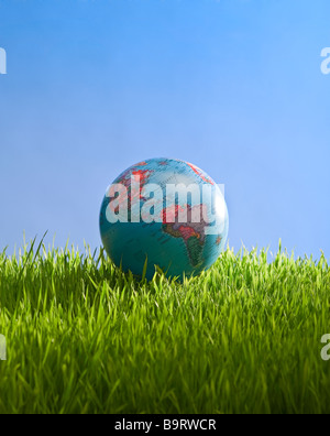 globe in grass with sky - Stock Photo