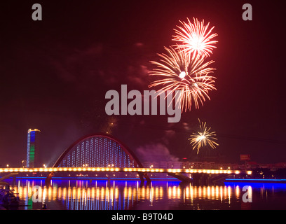 Fireworks are let off for Chinese new year at most towns and cities in China. - Stock Photo