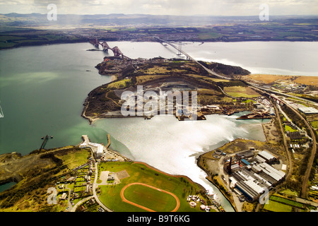 photograph of aerial view of Forth bridges from Inverkeithing - Stock Photo