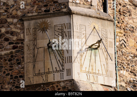 Sundials on the corner of St Botolphs Church, Trumpington Street Cambridge England UK - Stock Photo