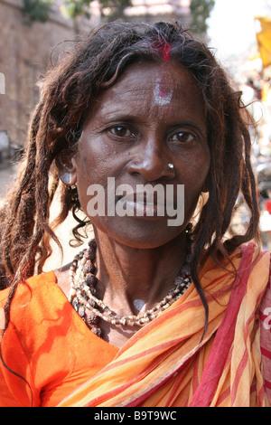 Portrait of Female Sadhu With Dreadlocks - Stock Photo