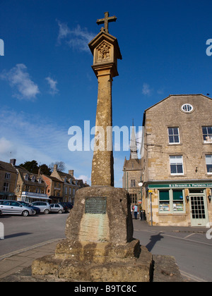 The Market Square Cross Stow On the Wold Cotswolds Gloucestershire England UK - Stock Photo