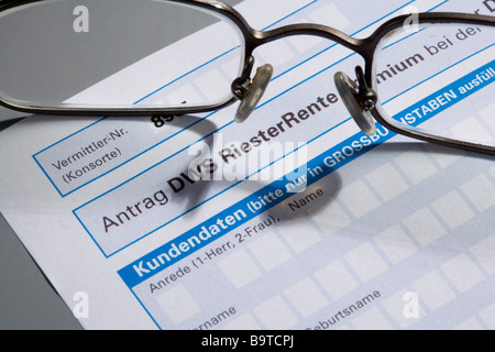 Application form for the Riesterrente - Stock Photo