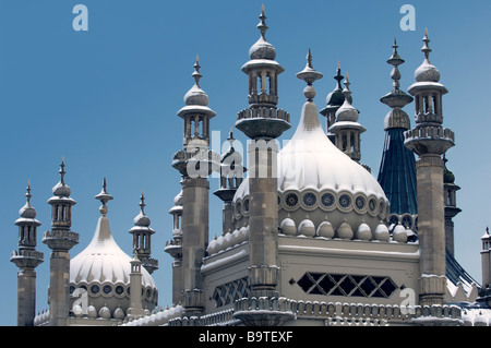 Snow covers the Domes and minarets of the Prince Regents Palace the Brighton Royal Pavilion East Sussex UK - Stock Photo