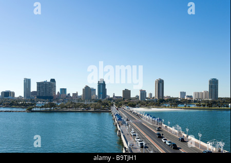 View of Downtown from St Petersburg Pier, St Petersburg, Gulf Coast, Florida, USA - Stock Photo