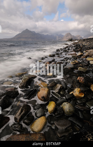 The Black Cuillin seen from Elgol in windy and stormy conditions, Skye, Scotland, UK - Stock Photo